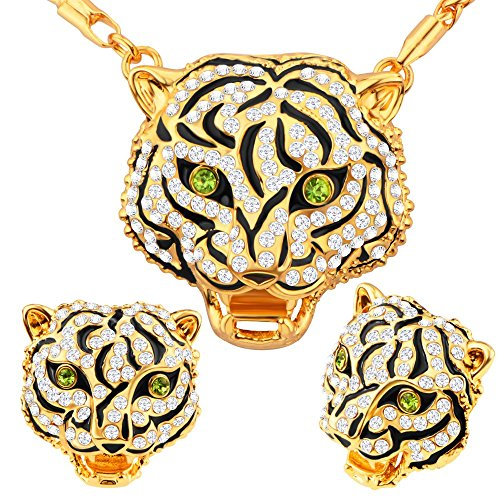 Luxury Unique Tiger Head 18k Gold/Platinum Plated Necklace&Earrings Jewelry Sets For Women or Men Gift S20187