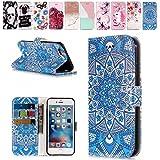 E-Mandala Apple iPhone 5 5S SE Hülle Leder Flip Case Tasche handyhüllen Schutzhülle Lederhülle mit kartenfach klapphülle Handytasche - Retro Mandala Blume
