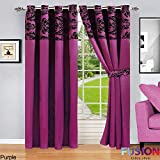"""RING TOP FULLY LINED PAIR EYELET READY CURTAINS LUXURY DAMASK CURTAIN RING TOP (90"""" x 90"""" (228cm x 228cm), Purple)"""