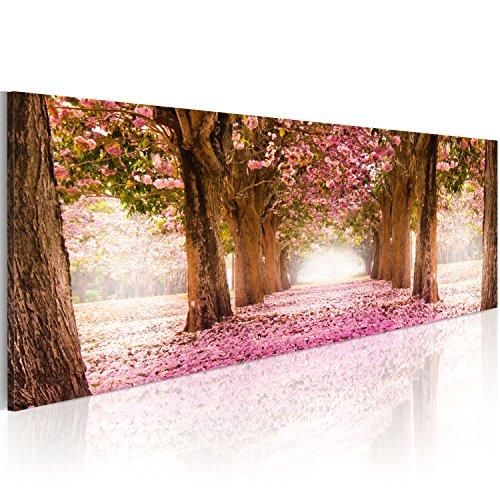 Cuadro en Lienzo 135x45 cm - 3 tres colores a elegir - 1 Partes - Formato Grande - Impresion en calidad fotografica - Cuadro en lienzo - Flores Naturaleza Park Floresweg Top lienzo 1 partes c-A-0052-b-b 135x45 cm B&D