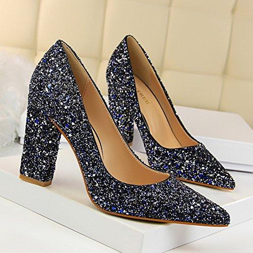 mit hochhackigen flachen Mund war dünn und wies blinkt Pailletten Nightclub Schuhe High Heels, blau,39EU ()