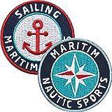 Club of Heroes 2er-Set, Stick Abzeichen 55 mm rund/Maritim und Nautik Sports/für Segeln Wassersport...