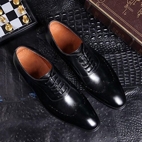 LYZGF Uomini Signori Affari Casual Moda Abbigliamento Formale Scarpe A Punta In Pizzo In Pelle Black