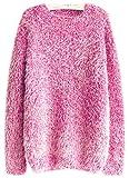 Fuxiang Pullover Mohair Winterpulli Damen Frauen Warme Rundhals Longpullover Oversize Schöne Kuschelpullover Mantel Sweatshirt Sweaters Sweatjacke Herbst Winter Rose Rot