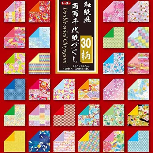 Toyo wendbar Origami washifu Chiyogami-, ryoumen Chiyogami-ZUKUSHI 15cm x 15cm (018060)