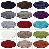HomebyHome Hochflor Shaggy Rund Teppich Carpet Wohnzimmer vers. Farben & Größen, Farbe:Rot, Größe:120 cm Rund