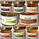 #2: Farm Naturelle-(Pack of 8x40Gms) Forest Flower Honey/Jungle Honey, Tulsi Flower Honey, Jamun Flower Forest Honey, Acacia Honey, Litchi Honey, Wild Berry/Sidr Forest Honey, Eucalyptus Honey, Cinnamon Infused Forest Honey