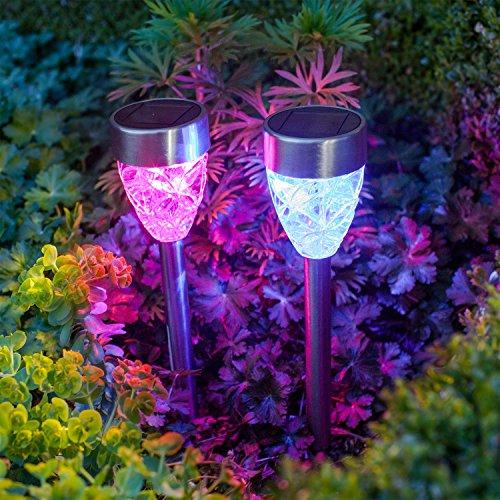 Offre Spéciale : Lot de 8 Lampes Prismes Solaires à Piquet en Inox avec LED de Couleur Changeante de Lights4fun