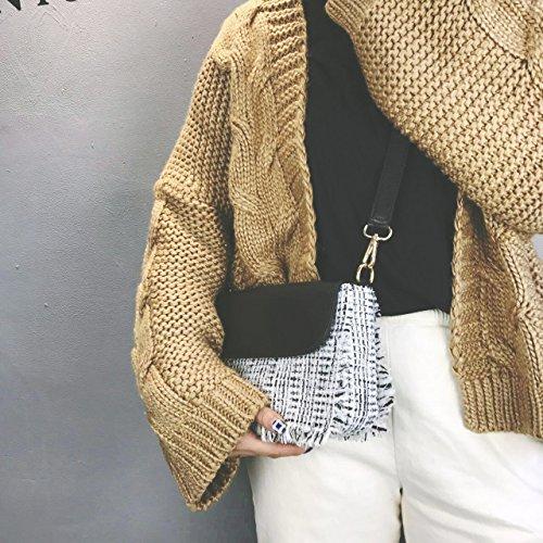 Pacchetto CengBao femmina coreano nuovo piccolo Heung-vento bordi ruvidi bordatura di piccole confezioni di partito elegante e versatile di una spalla borsa Messenger, bianco Bianco