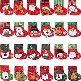 Tatuo 24 Piezas de Mini Medias de Navidad, Funda de Cubiertos de Muñeco de Nieve Santa 3D, Calcetines Colgantes de Navidad Bolsa de Regalos y Dulces para Árbol de Navidad, Decoración de Hogar, Jardín