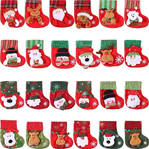 24 Stück Mini Weihnachtsstrümpfe, 3D Santa Schneemann Silber Halter, Kleine Weihnachtsstrümpfe Geschenk und Treat Bags Weihnachten Hängende Socken für