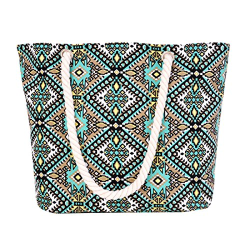 Nuovo Casuale Geometric Canvas Handbag Borsa Da Spiaggia Elegante Delle Donne A