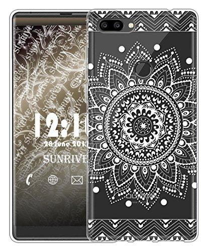 Sunrive Für OUKITEL Mix 2 Hülle Silikon, Transparent Handyhülle Schutzhülle Etui Case Backcover für OUKITEL Mix 2(TPU Blume Weiße)+Gratis Universal Eingabestift