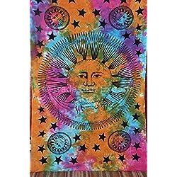tradestar Celestial Sun Moon Tapestry, tamaño de Twin psicodélico colgar en la pared, Tie Dye Colcha, Boho Sol, luna estrellas de la pared decoración, Hippie Bohemio Playa Manta