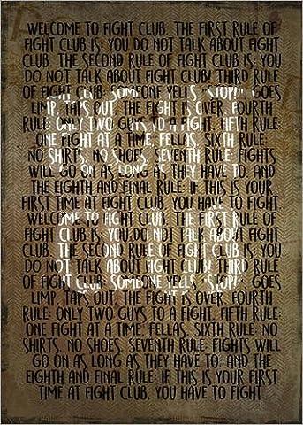 Leinwandbild 50 x 70 cm: Fight Club - Regeln - Alternative von HDMI2K - fertiges Wandbild, Bild auf Keilrahmen, Fertigbild auf echter Leinwand,