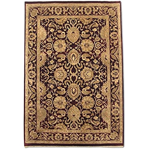 Agra rettangolare realizzato a mano, in lana, rosso scuro, 186