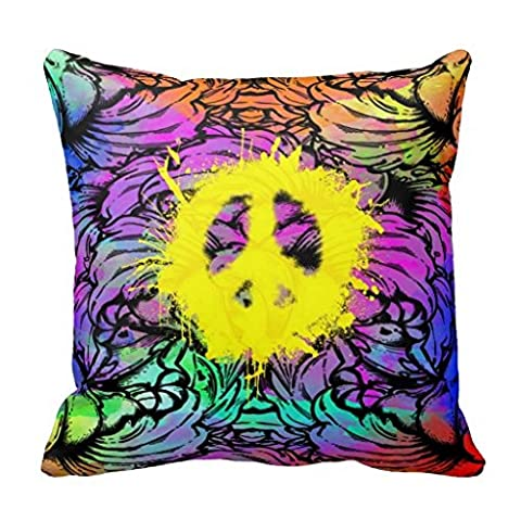 Peace Sign Floral Watercolor Throw Pillow Case Cars Pillow Cover