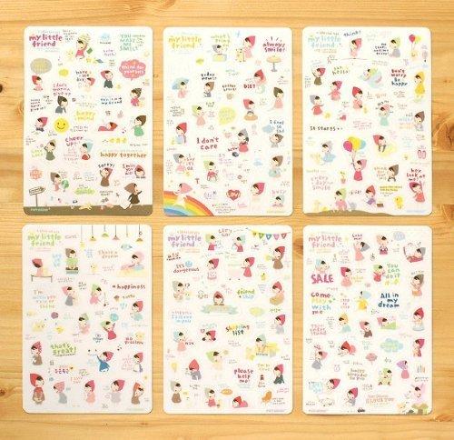 Doitsa Aufkleber, koreanische, süße Mädchen Modellierung, transparent, g für Tagebuch Dekoration 6 ein Satz, ein Satz von einem Verkauf (Verkauf Dekorationen)