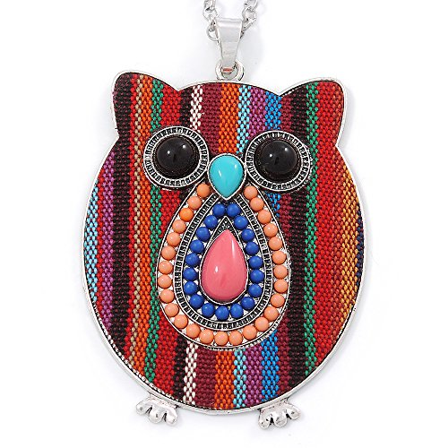 funky-multicoloured-fabric-with-acrylic-bead-owl-pendant-with-long-silver-tone-chain-80cm-l