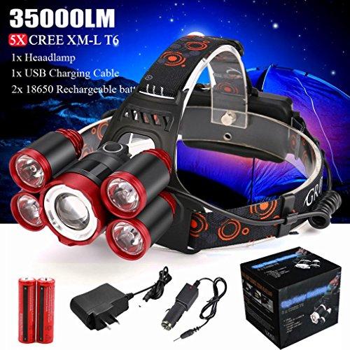 LED Stirnlampe XML-T6 35000LM, Wasserdicht Verstellbare 4 Modi Superheller Kopflampe Taschenlampe mit Wiederaufladbare Batterien, Perfekt für Laufen Camping Lesen Joggen usw (Rot)