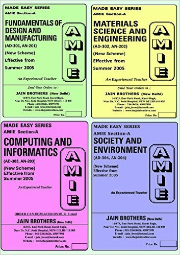 AMIE Section (A) Diploma Set Of 4 Solved Papers: ( AD-301,AN-201)(AD-302,AN-202) (AD-303,AN-203)(AD-304,AN-204)