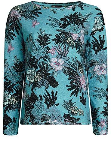 oodji Ultra Damen Bedrucktes Sweatshirt mit U-Boot-Ausschnitt Türkis (7341F)