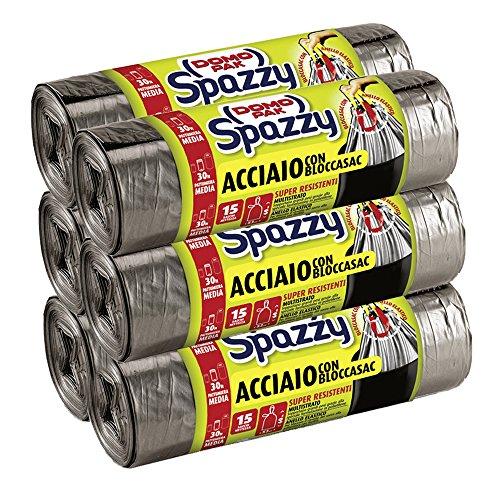 Domopak Spazzy Sacchi Nettezza Acciaio con Bloccasac - Casalingo 30 lt - 6 confezioni da 15 pezzi