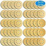 austor 50piezas dorado discos de papel de lija, 12,7cm 8agujeros Dustless Hook y Loop 60/80/100/120/150/180/240/320/400/800Grit Papel de lija Surtido para lijadora orbital