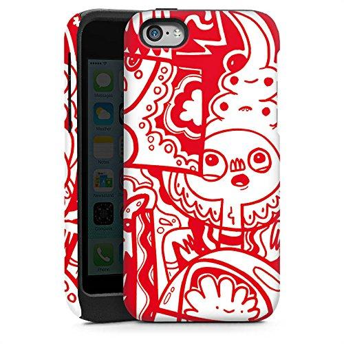 Apple iPhone 5 Housse Étui Silicone Coque Protection Rouge Graphique Graphique Cas Tough brillant