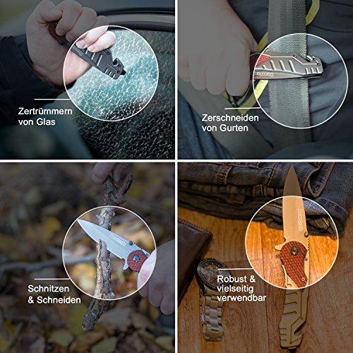 BearCraft Klappmesser | Outdoor Survival Taschenmesser mit Holzeinsatz Abbildung 3