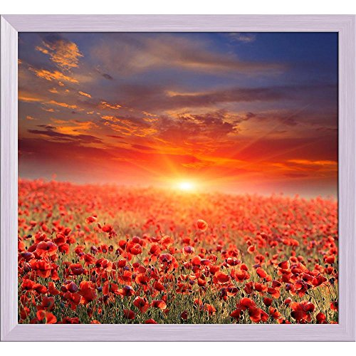 ArtzFolio Sunset Over Poppy Field Tabletop Painting White Frame 6.4 X 6Inch -