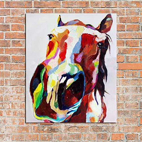 Ölgemälde Auf Leinwand Handgemalt,Große Größe Modernen Abstrakten Malerei,Tier Esel Kopf Mit Mehreren Farben,Luxus Kunst Dekor Für Home Eingang Wohnzimmer Schlafzimmer Büro Erwachsene Geschenke