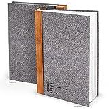 XXL Notizbuch Filz-Optik grau-braun DIN A4 164 leere weiße blanko Seiten Tagebuch groß Blanko-Buch Einschreibbuch gebunden Geschichte selber-schreiben - Zeichnen Malen - Geschenk
