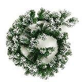 Enjoygoeu Weihnachtsgirlande Tannengirlande mit Schnee Weihnachtsdeko Grün Weiß Künstliche Tannen Girlande Weihnachten Deko für Treppen Wand Tür 1,8M