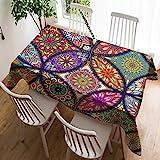 Violetpos Tischdecke Tischtuch Leinendecke Leinen Pflegeleicht Abwaschbar Schmutzabweisend Tischwäsche Bohemian Style Boho Paisley Muster Indischen Mosaik 60 x 90 cm