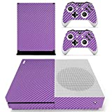 DOTBUY Vinyl Decal Full Body Skin Sticker For Microsoft Xbox One S Console And 2 Controllers And Kinect 2.0 (Carbon Fiber Purple)