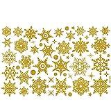 ODJOY-FAN Weihnachten Schneeflocke Aufkleber Entfernbar Wandtattoos Wandaufkleber Fenster Schnee Wandbilder Restaurant Einkaufszentrum Glas Dekor (30 x 45 cm)(Gelb,1 PC)