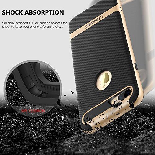 Coque iPhone 7, [Premium Armor] TPU Pare Carbone Fibre Coated Dual Layer Protective Housse Etui Pour iPhone 7 [Rose Gold] Gold/For iPhone 7 Plus