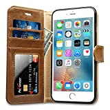 Labato Handytasche für iPhone 6 Plus/ 6s Plus Schutzhülle aus Echt Leder Bookstyle Hülle für i Phone 6 Plus, Zubehör für iPhone6 Plus Smartphone, braun, Lbt-I6U-05Z20
