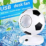 Desk Fan for 5-15 years old, 7.5 inch portable Office fan,Football Gifts for the world cup,No leaf,USB or Battery Fan,Portable Air Cooling Fan for Football field, Home, Office,Gift for Decoration