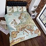 Urban Einzigartige Landkarte von Europa, Hochwertiger Fotodruck, Bettbezug- und Kopfkissenbezug-Set, Muti (Zulu), für Einzelbett