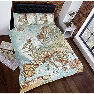 Homespace Direct Extragrande Mapa De Europa Impresión Fotográfica Funda Nórdica Cama y 2 Fundas Para Almohada Set