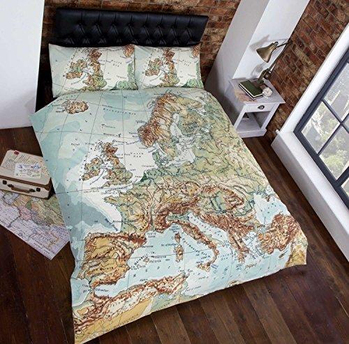 Urban unique copripiumino e federa con stampa fotografica mappa europea, multicolore, singolo