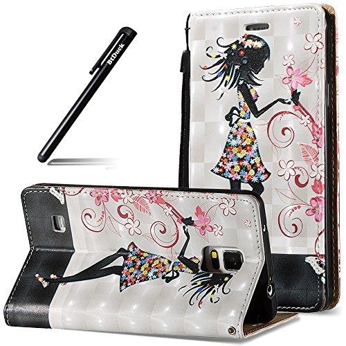 BtDuck Galaxy Note 4 Tasche, 3D Tasche Hülle Magnet Flip Schutzhülle Zubehör Lederhülle mit Silikon Back Cover PU Leder Schutzhülle Handyhülle Brieftasche für Samsung Galaxy Note 4 Schönheit Mädchen