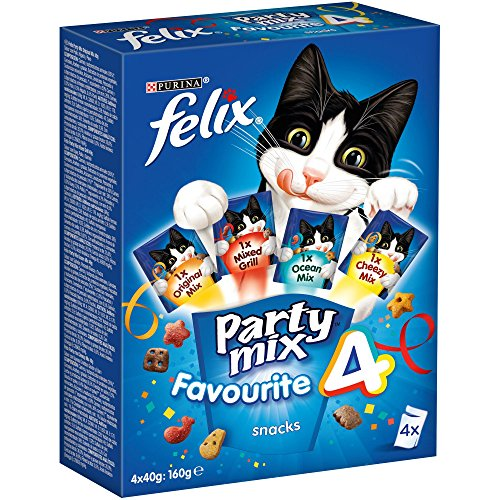 Purina Felix Party Mix Surtido Snacks para Gato - Pack de 6 x [4 x 40 g] - Total 960 g