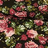 Stoffe Werning Baumwolljersey Rosa Rote Rosen Schwarz 170