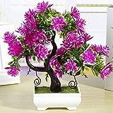 ZTTLOL Künstliche Blumen Für Heimtextilien Künstliche Pflanzen 1 Stück Emulieren Bonsai Dekorative Künstliche Blumen Gefälschte Topfpflanzen, Red Lotus