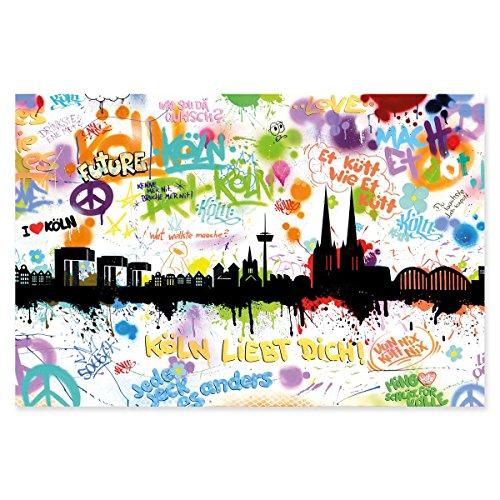 Kunstbruder Poster Bild Köln Kölner Stadt Städte Cologne by Dichyk - Tags - Wandposter Streetart Posterbild 20x30cm (Tags Stadt)