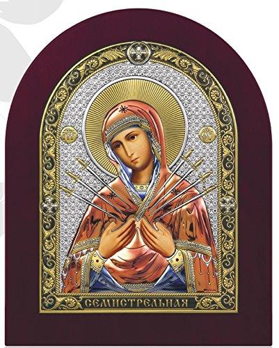 Icona religiosa Miguel Virgen semistrelnaya cm 28,6x 34,7laminado plata sobre madera-Bordo madera-D Orato y multicolor-Manivela Made in Italy con caja elegante