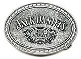 Jack Daniels Gürtelschnalle - Silber Texturierten Ovale Design - Old Nr. 7 Brand - Offiziell Lizenziertes Produkt